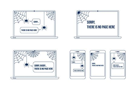 404 error page with funny spider inside phone laptop display. Spider says - sorry, page not found. Page not found illustration. Connection loss, internet unavailable concept. Flat vector illustration