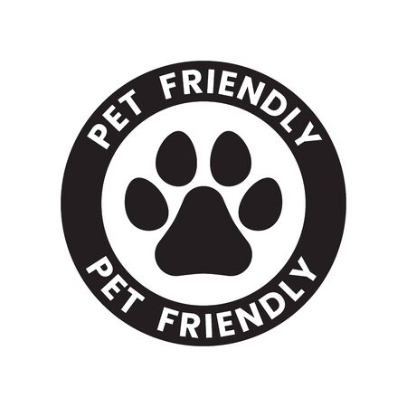 Pet paw or dog label, stamp or sticker with pet friendly text. Pet paw icon. Dog track inside circle. Vet clinic, shop label, sticker, logo