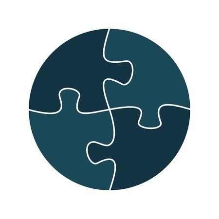 Quatre pièces de puzzle ou pièces reliées entre elles. Modèle de puzzle de puzzle multicolore. Illustration vectorielle plane