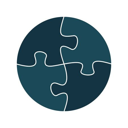 Four jigsaw pieces or parts connected together. Multicolor puzzle jigsaw template. Flat vector illustration Illustration