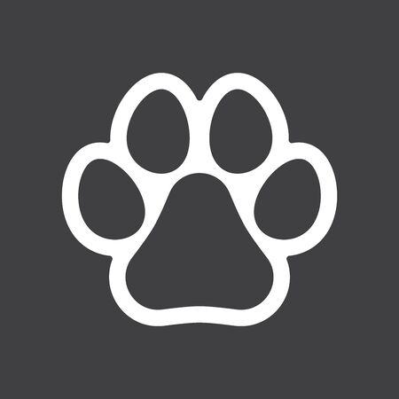 Animal paw print line outline icon on black background. Dog or cat paw print. Pet footprint sign. Dog track icon. Flat vector illustration Иллюстрация