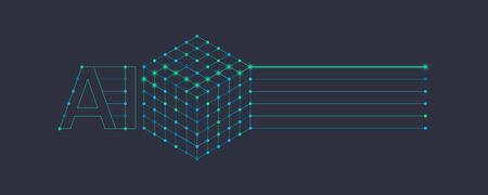 AI, artificial intelligence or machine learning infographics element. Artificial intelligence cube, deep learning neural network in isometric view. Vector illustration