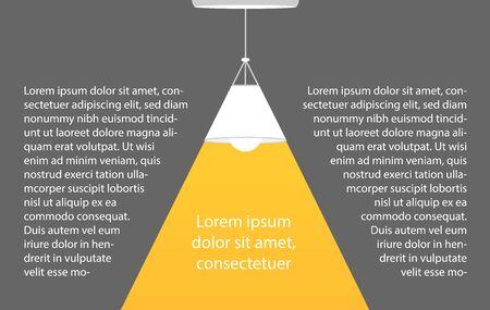 Ceiling lamp bulb as spotlight and text turn on creativity. Yellow spotlight. Lamp bulb silhouette. Minimal design. Flat vector illustration.