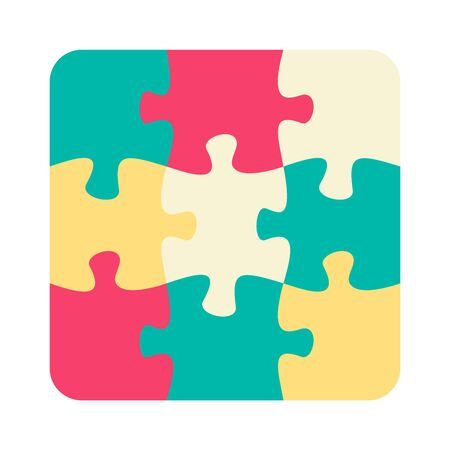 Nine jigsaw pieces or parts connected together. Multicolor puzzle jigsaw template. Flat vector illustration