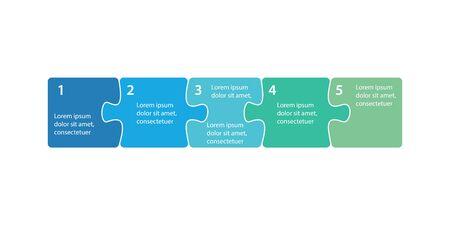 Infographics step blocks as puzzle jigsaw pieces. Infographics presentation template. Business process design. Flat vector illustration Иллюстрация