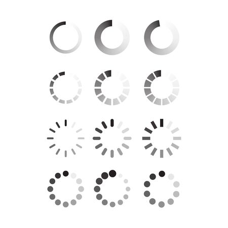 Circle progress bar loader. Round cyclic bar icon. Applicable as upload, download icon. Part of web app interface. Transparent progress bar. Flat vector illustration
