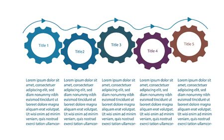 Infographics presentation template with gear cogs or cogwheels. Infographics design with 5 five steps. Five gear cogs demonstrate business process flow. Flat vector illustration Иллюстрация