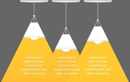 Three Ceiling lamps bulb as spotlight and text turn on creativity. Yellow background. Lamp bulb silhouette. Minimal design. Flat vector illustration. Иллюстрация