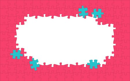 Red puzzle pieces. Jigsaw frame. Puzzle orange background. Flat vector illustration