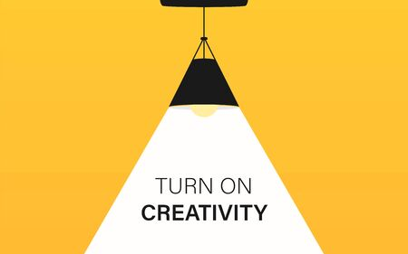 Ceiling lamp bulb as spotlight and text turn on creativity. Yellow background. Lamp bulb silhouette. Minimal design. Flat vector illustration.