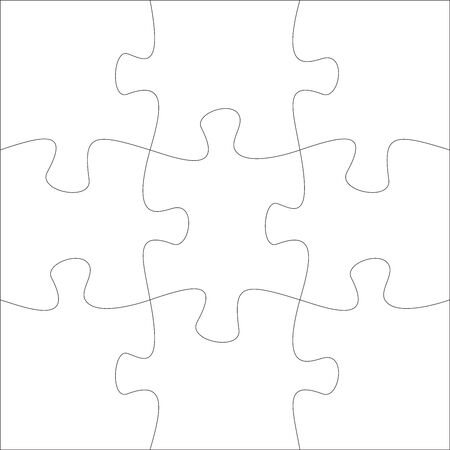 9 jigsaw pieces template. Ninen two puzzle pieces connected together. Jigsaw or puzzle elements template. Flat vector illustration