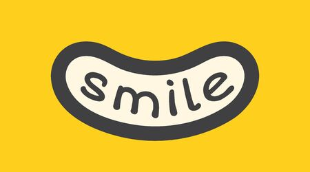 Smile word inside wide smile. Cartoon joy emotion illustration. Yellow background. Smile with handwritten text inside. Applicable as print design for t shirt, as cards design . Vector illustration