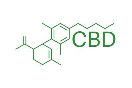 CBD molecule formula. Cannabidiol formula. Chemical molecule. Иллюстрация