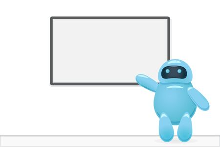 Robot presenting training course on the board Иллюстрация