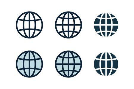 Globe, planet icon set. Internet, global sphere Иллюстрация