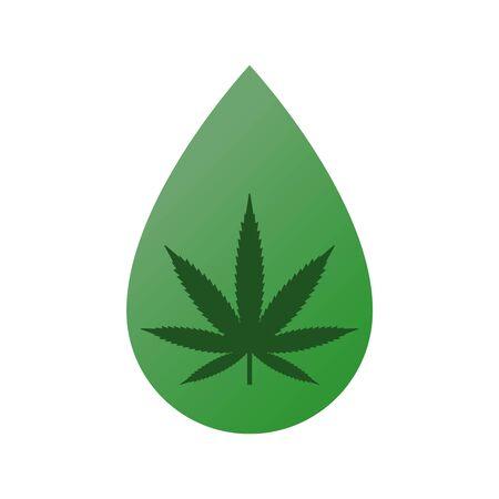 Cannabis medicinal, cáñamo dentro de la gota. Ilustración de vector