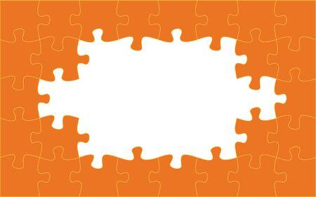 Orange puzzle pieces. Jigsaw frame. Vector illustration Иллюстрация