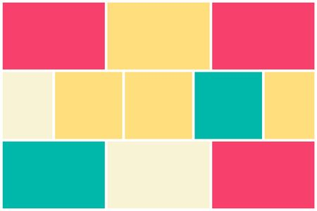 Photo collage pattern. White frames, colored pattern