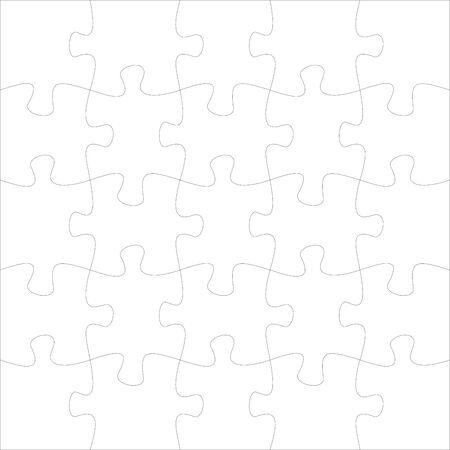 20 jigsaw pieces template. Twenty puzzle pieces connected together. Jigsaw or puzzle elements template. Flat vector illustration Иллюстрация