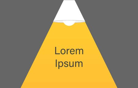 Ceiling lamp bulb as spotlight and text turn on creativity. Yellow spotlight. Lamp bulb silhouette. Minimal design. Flat vector illustration. Reklamní fotografie - 134680999