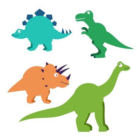 Set of cartoon dinosaurs characters - t rex etc