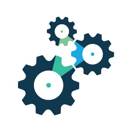 Three cog wheels or gear icon, symbol.