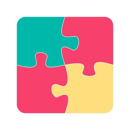 Four jigsaw pieces or parts connected together.