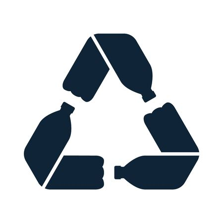 Pet bottles form mobius loop or recycling symbol with arrows.