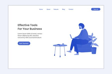 Business illustration on landing page. Girl is working at the table with laptop and getting social media message. Business design concept. Flat vector illustration Иллюстрация