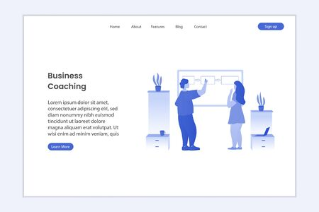 Business illustration on landing page. Business coach teaching student and standing near the board. People on the training. Monochrome design concept. Flat vector illustration Иллюстрация