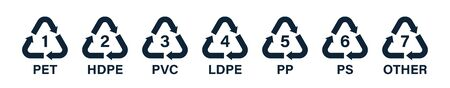 Flat recycle icons. Mobius loop. Recycling symbols Stock Illustratie