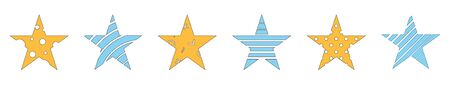 Star shapes with patterns inside - stripes, circles. Иллюстрация