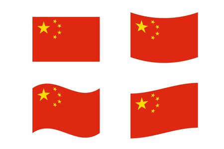 Set of Five starred red Flag of China - flat and wavy. National flag of the Peoples Republic of China. True colors and size Иллюстрация