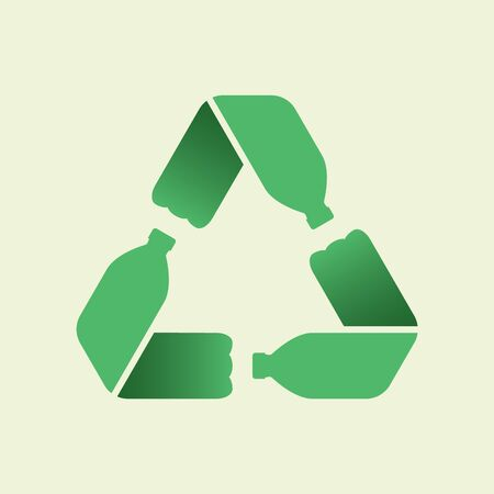 Bottiglie di plastica per animali formano un anello mobius o un simbolo di riciclaggio con frecce. Concetto di uso di animali domestici in plastica ecologica. Riciclare l'icona. Concetto di raccolta differenziata. Illustrazione vettoriale
