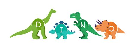 Set of cartoon dinosaurs characters - t rex etc. Cartoon dinosaurs for kid child clothes, apparel, garment print. Applicable as stickers, labels or part of game design. Flat vector illustration.
