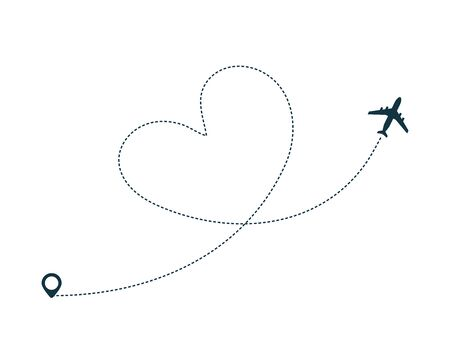 Airplane silhouette icon with dotted line path as heart. Plane flight with dotted path. Geo tag at the start. Airplane trip concept. Flat vector illustration