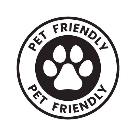 Pet paw or dog label, stamp or sticker with pet friendly text. Pet paw icon. Dog track inside circle. Иллюстрация