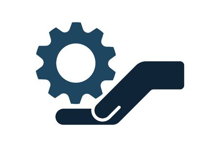 Hand with cog wheel, gear icon. Technical support, technical service concept. Tuning, setup system settings symbols. Gear between two hands. Vector illustration