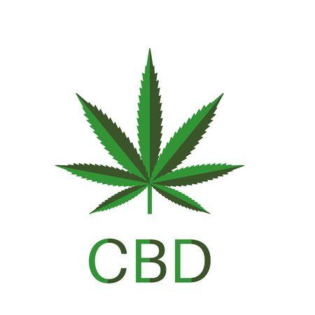 Medical hemp, marijuana icon. Medical cannabis leaf. Marijuana sign, symbol. CBD Product design element. Vector illustration