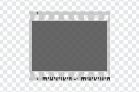 One photo camera blank frames. Retro 35 mm black and white camera filmstrip. Negative camera roll. Applicable as photo collage. Vector illustration Иллюстрация