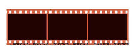 Three 3 photo camera blank frames. Retro 35 mm color camera filmstrip. Negative camera roll. Applicable as photo collage. Vector illustration Иллюстрация