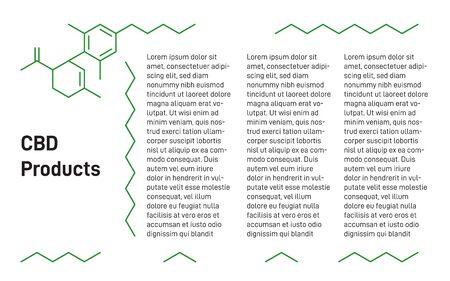 Medical hemp, CBD products presentation template. Cannabidiol, medical marijuana presentation. CBD formula Applicable as banner, poster, brochure element. Vector illustration