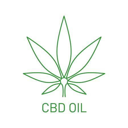 Medical marijuana . CBD oil design element. Cannabis plant logo. Non traditional medicine. CBD product design element. Vector illustration