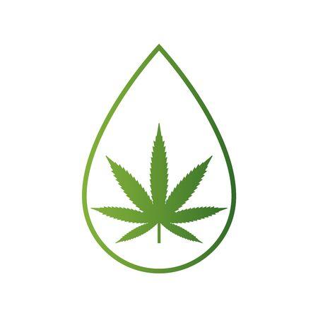 Medical cannabis inside drop. CBD oil .Marijuana leaf symbol. CBD product . Hemp oil icon. Vector illustration