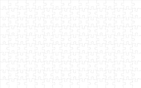 144 jigsaw pieces template. 16 x 9 puzzle pieces connected together. Jigsaw or puzzle elements template. Flat vector illustration