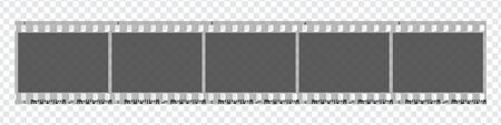 Cinco marcos en blanco de 5 cámaras de fotos. Tira de película de cámara retro en blanco y negro de 35 mm. Rollo de cámara negativo. Aplicable como collage de fotos. Ilustración vectorial