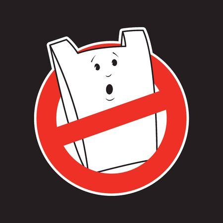 Forbidden plastic bag cartoon character. No plastic bags concept. Forbidden sign. Applicable as label, tag, poster, banner. No plastic bags poster, tag sticker. Eco consumption. Vector illustration