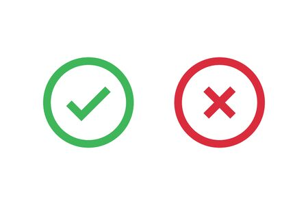 Check mark icons for web. Checkmark X symbols on white isolated background. Check mark signs in green and red colors. Circle symbols elements. Yes no web buttons. Vector illustration Иллюстрация