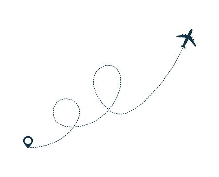 Airplane silhouette icon with dotted line path. Plane flight with dotted path. Geo tag at the start. Airplane trip concept. Flat vector illustration