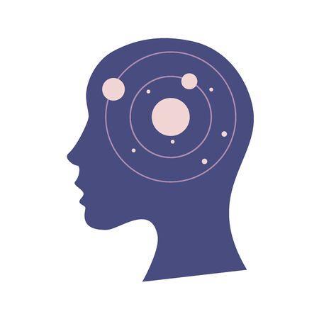 Weibliche Kopfsilhouette mit Sonne oder Stern und Planeten im Inneren. Menschliches Gehirn, Kreativität, Vorstellungskraft oder Konzept der psychischen Gesundheit. Flache Vektorillustration Vektorgrafik